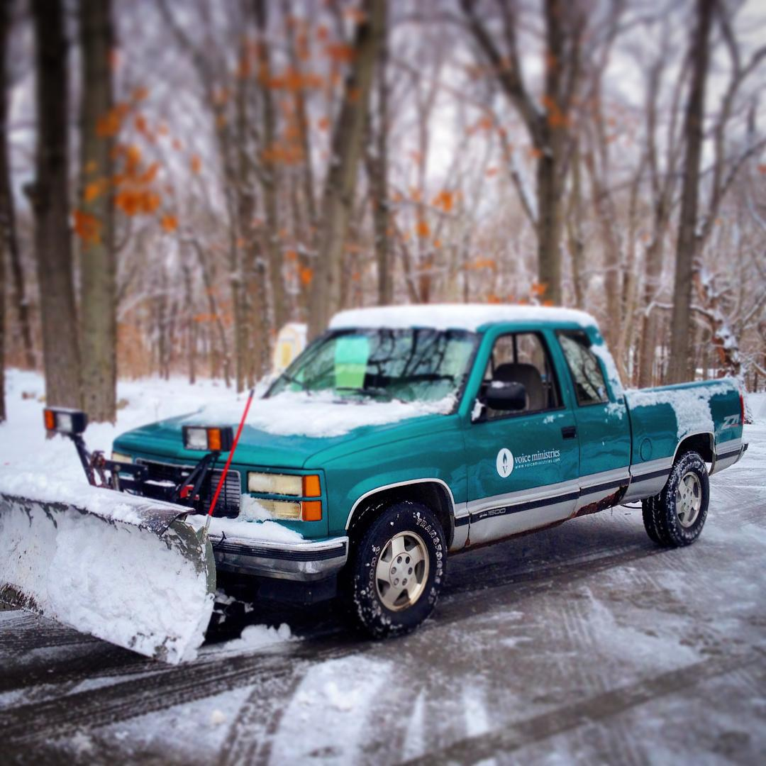 22 years old and still plowing snow! #1994gmcsierra #snowplow #voiceministries #voiceministriescamp